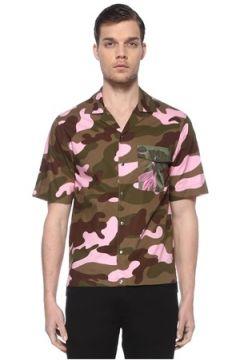 Moncler Erkek Kahverengi Pembe Kamuflajlı Kısa Kollu Gömlek S EU(114438944)