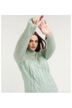 Fashion Union Plus - Maglione con lavorazione a trecce spesse e pannello trasparente-Verde(122557322)