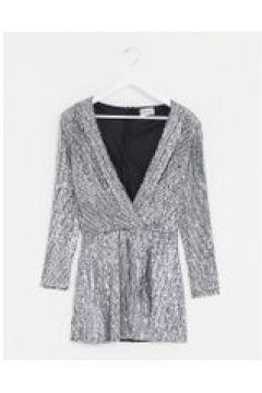 Lioness - Vestito corto argento con scollo profondo e paillettes(122355781)