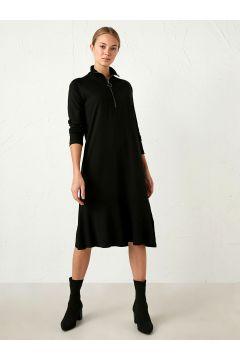 Kadın Yaka Detaylı Jakarlı Elbise(126181676)