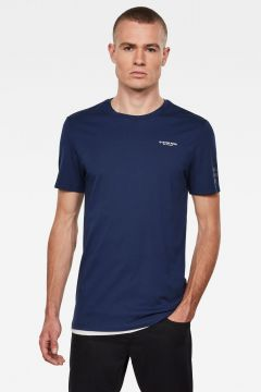 G-Star RAW Men Text GR Slim T-Shirt Dark blue(118217245)