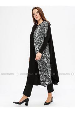 Black - Silver tone - Leopard - Crew neck - Plus Size Tunic - Arıkan(110332348)