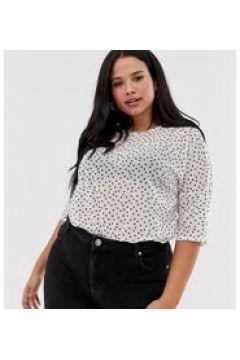 Daisy Street Plus - Oversize-T-Shirt aus gepunktetem Netzstoff - Weiß(95032817)
