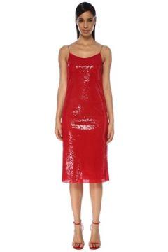 Academia Kadın Kırmızı İnce Askılı İşlemeli Midi Kokteyl Elbise 34(119423328)