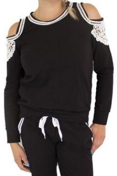 Sweat-shirt Primtex Haut de jogging noir avec dentelle blanche(88679022)