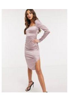 NaaNaa - Vestito midi in raso con scollo quadrato viola(122747994)