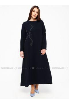 Navy Blue - Fully Lined - Crew neck - Plus Size Dress - Alesya By Tuğba(110317403)