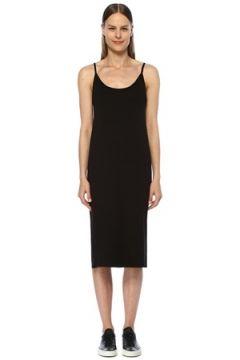 Tru Kadın Siyah U Yaka Midi Elbise S EU(116595421)