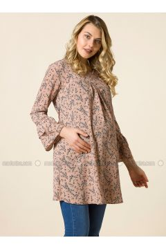Dusty Rose - Crew neck - Floral - Maternity Tunic - Gör & Sin(110317450)
