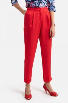Pantalón pitillo de lino y algodón(108523005)