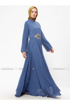 Blue - Indigo - Unlined - Crew neck - Muslim Evening Dress - BÜRÜN(110313628)