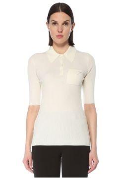 Prada Kadın Beyaz Polo Yaka Kısa Kollu Yün Kazak 38 IT(127770262)