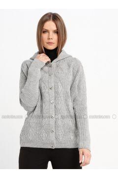 Gray - Unlined - Acrylic -- Jacket - Sementa(110337028)