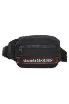 Alexander McQueen Erkek Siyah Logo Baskılı Bel Çantası Kırmızı EU(120084187)
