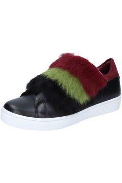 Baskets Islo sneakers noir cuir fourrure bordeaux BZ214(115393956)