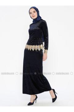 Navy Blue - Unlined - Crew neck - Muslim Evening Dress - MEKSİLA(110318195)