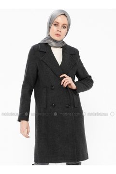 Black - Fully Lined - Shawl Collar - Coat - Gzd(110337851)