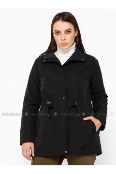 Black - Navy Blue - Plus Size Coat - RMG(110322996)