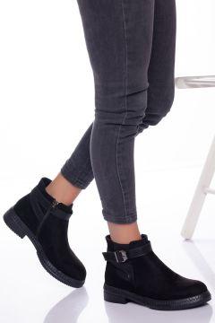 Ayakkabı Frekansı Kadın Siyah Süet Hafif Topuklu Bot(121161991)