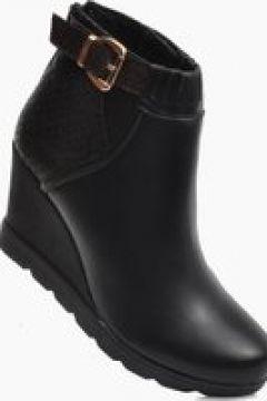 Pantofelek24.pl | Czarne botki damskie na koturnie(112083111)
