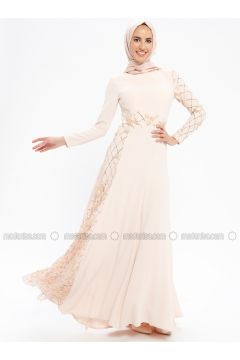 Salmon - Fully Lined - Crew neck - Muslim Evening Dress - Pia(110335753)