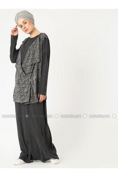 Gray - Multi - Crew neck - Unlined - Cotton - Dresses - PLİSTRE(110322151)