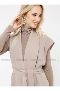 Black - Beige - Unlined - V neck Collar - Vest - Minimal Moda(110331222)