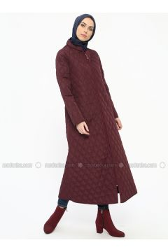 Plum - Unlined - Crew neck - Coat - ECESUN(110322440)