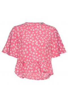 Tjw Printed Peplum Top Blouses Short-sleeved Pink TOMMY JEANS(116951107)