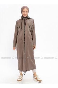 Beige - Unlined - Cotton - Trench Coat - Beha Tesettür(110328287)
