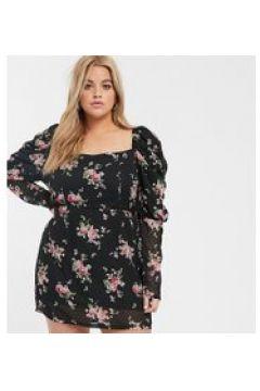 In The Style x Fashion Influx Plus - Vestito corto a fiori con maniche a sbuffo-Multicolore(120332899)