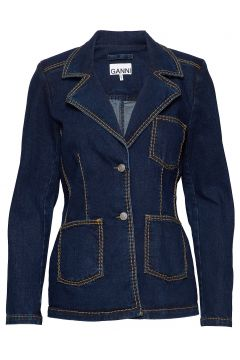 Light Stretch Denim Blazer Jackett Blau GANNI(117669606)