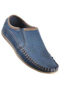 Pantofelek24.pl | Wsuwane męskie pantofle z ażurowej skóry GRANATOWY(112082335)