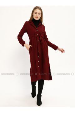 Maroon - Shawl Collar - Unlined - Dresses - Kaktüs(110319056)