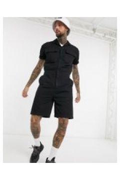 ASOS DESIGN - Tuta di jeans corta nera con tasche-Nero(120357124)