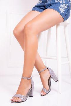 Deripabuc Hakiki Deri GRİ NUBUK Kadın Topuklu Deri Ayakkabı(124909322)