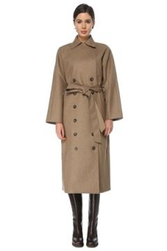 Toteme Kadın Bej Beli Kuşaklı Kruvaze Yün Palto S EU(126268313)
