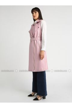 Pink - Fully Lined - Shawl Collar - Vest - MOODBASİC(110339188)