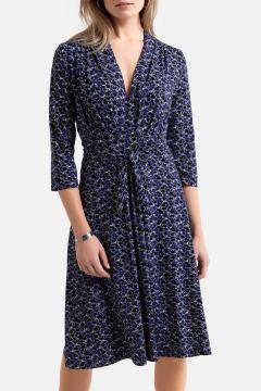 Vestido de punto vaporoso con estampado gráfico(108523052)