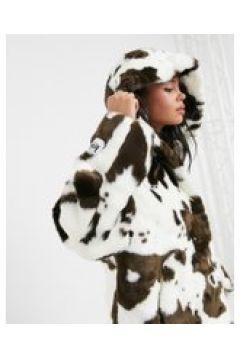 Jakke - Daisy - Cappotto corto oversize in ecopelliccia con cappuccio e stampa pezzata-Marrone(121794821)