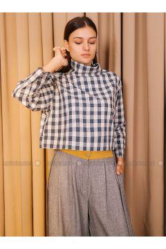 Gray - Multi - Polo neck - Blouses - Kuaybe Gider(110341997)