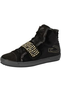 Chaussures Guardiani sneakers noir velours daim strass AE827(115399571)