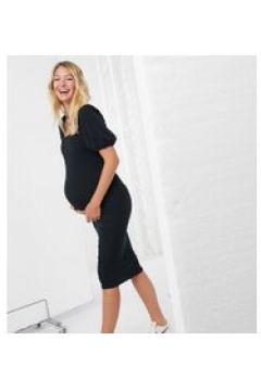 New Look Maternity - Vestito midi con scollo squadrato e maniche a sbuffo nero(120791583)