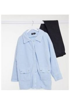 Daisy Street Plus - Giacca oversize in soffice pile effetto peluche con dettaglio con tasca-Blu(123030819)