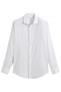 Camisa recta con cuello italiano, manga larga(121417287)