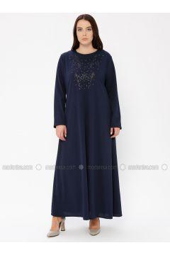 Navy Blue - Unlined - Crew neck - Plus Size Dress - EFE FERACE(110337651)