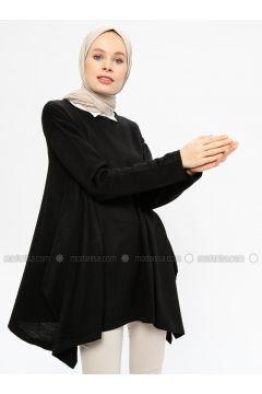 Black - Crew neck - Acrylic -- Tunic - Seyhan Fashion(110337675)