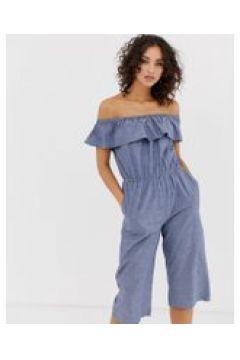 Vero Moda - Schulterfreier Chambray-Jumpsuit - Blau(86713357)