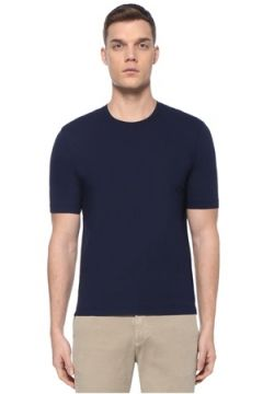 Lardini Erkek Lacivert Basic T-shirt 52 IT(107373309)