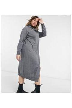 Elvi Plus - Vestito maglia grigio con collo a imbuto(124802036)
